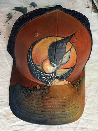 Hand Painted Loon Trucker's Hat