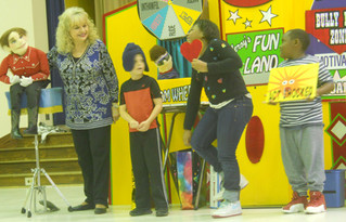 #VentriloquistKathyBurns introduces students to Buster the Bully along with tools to deal with him p