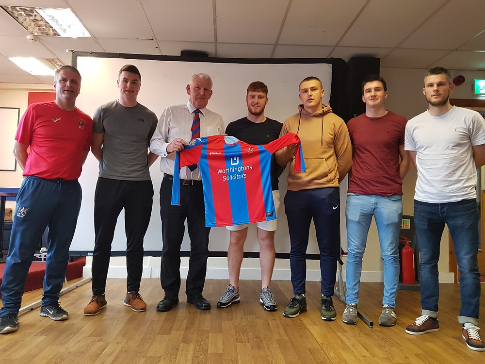 Ards Manager Colin Nixon and Chairman Brian Adams unveil new signings