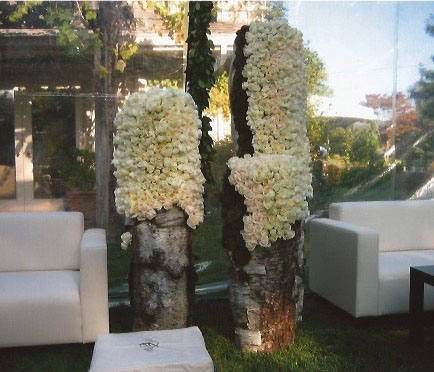 White floral topiary sculptures
