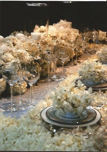 White floral stitched centerpiece