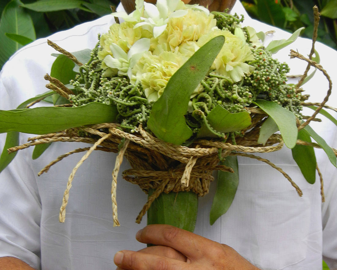 Mand holding eautiful flowers