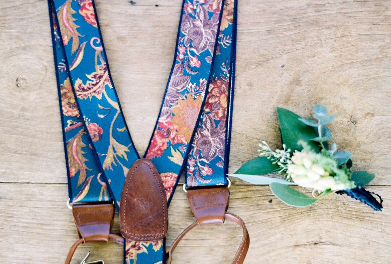 Wedding suspenders with floral accent