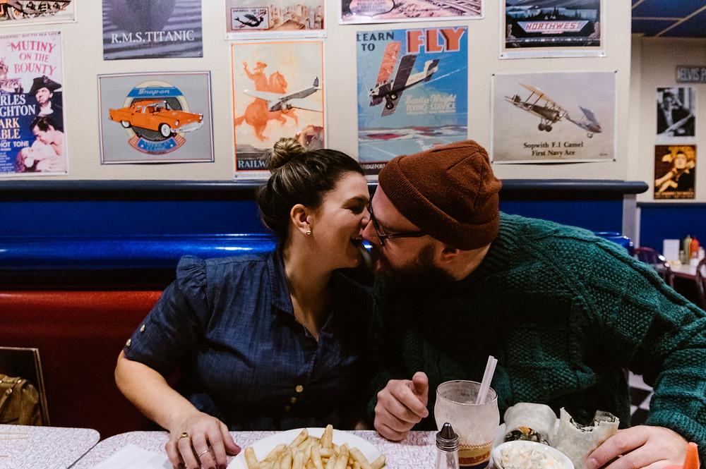 wimpys diner engagement photos