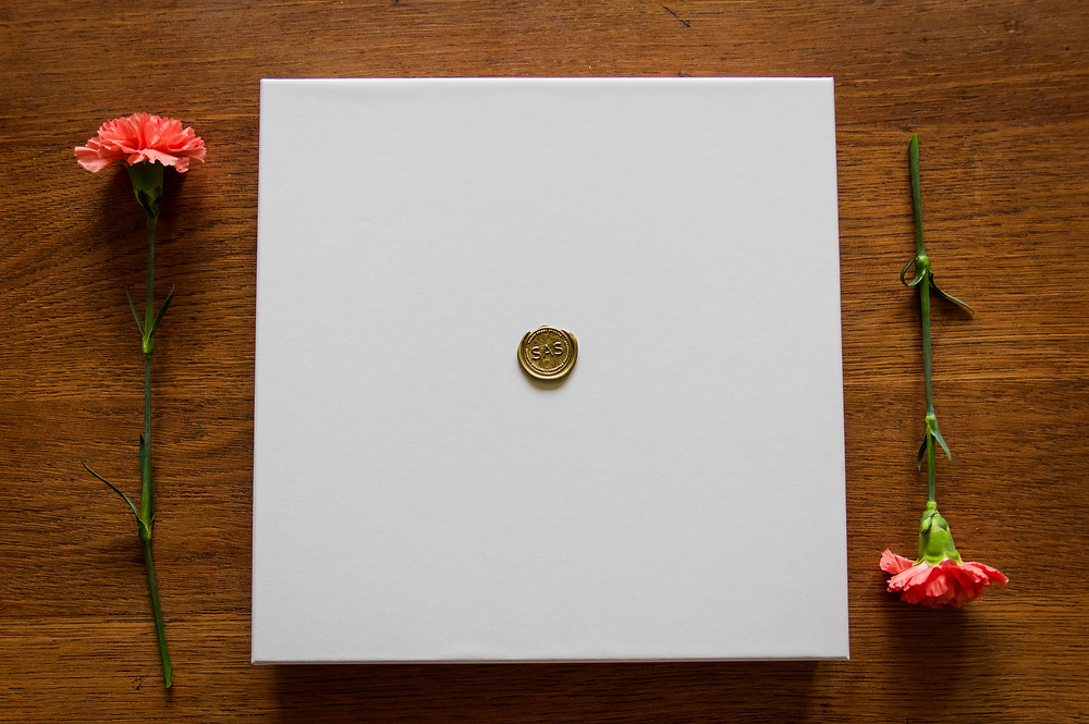 wedding album box wax seal