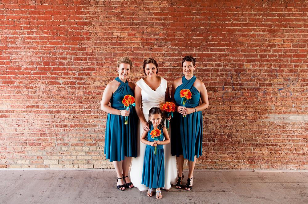 blue wrap bridesmaids dresses