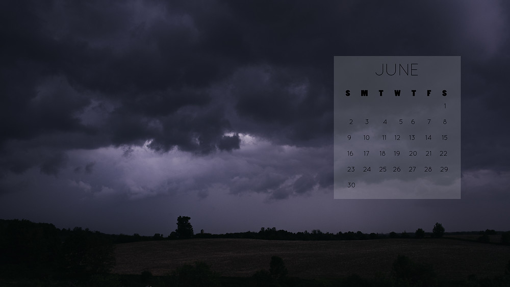 dark thunder clouds June 2019 calendar desktop download