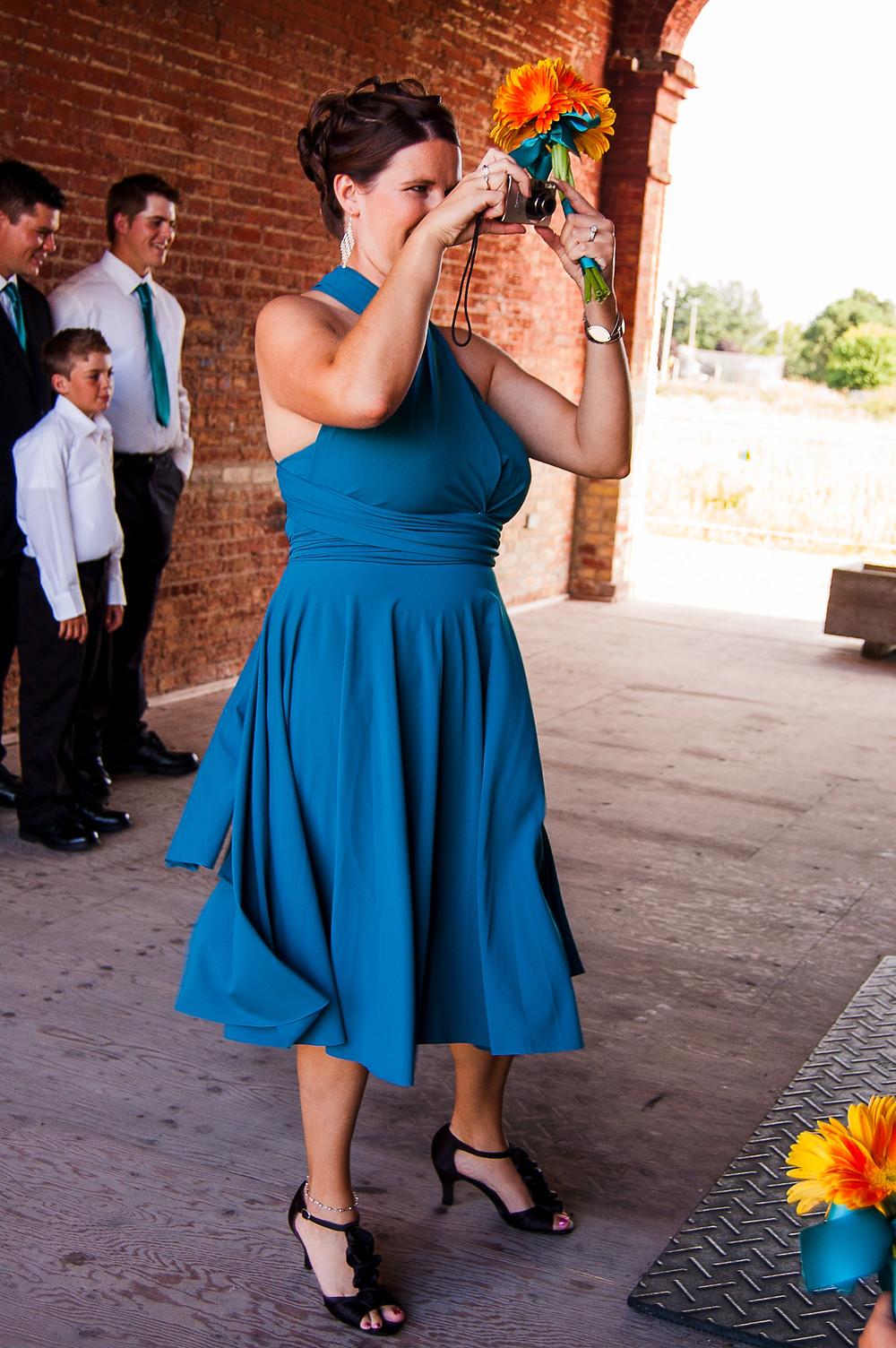 blue wrap bridesmaid dress