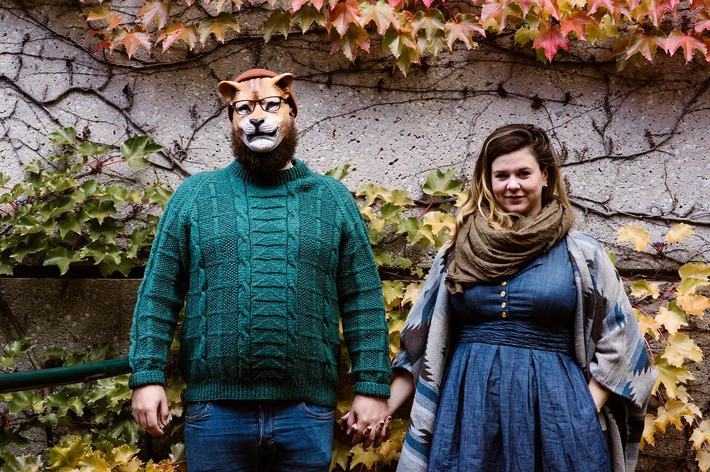 cat mask engagement photos