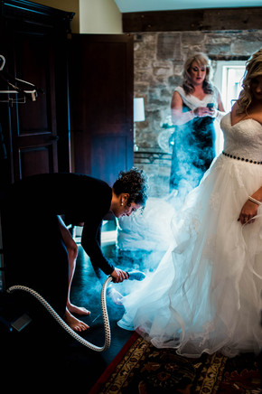 steaming the wedding dress