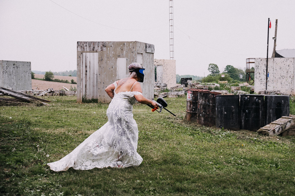 bride playing paintball