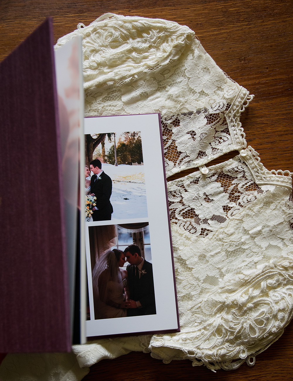 wedding album and wedding dress