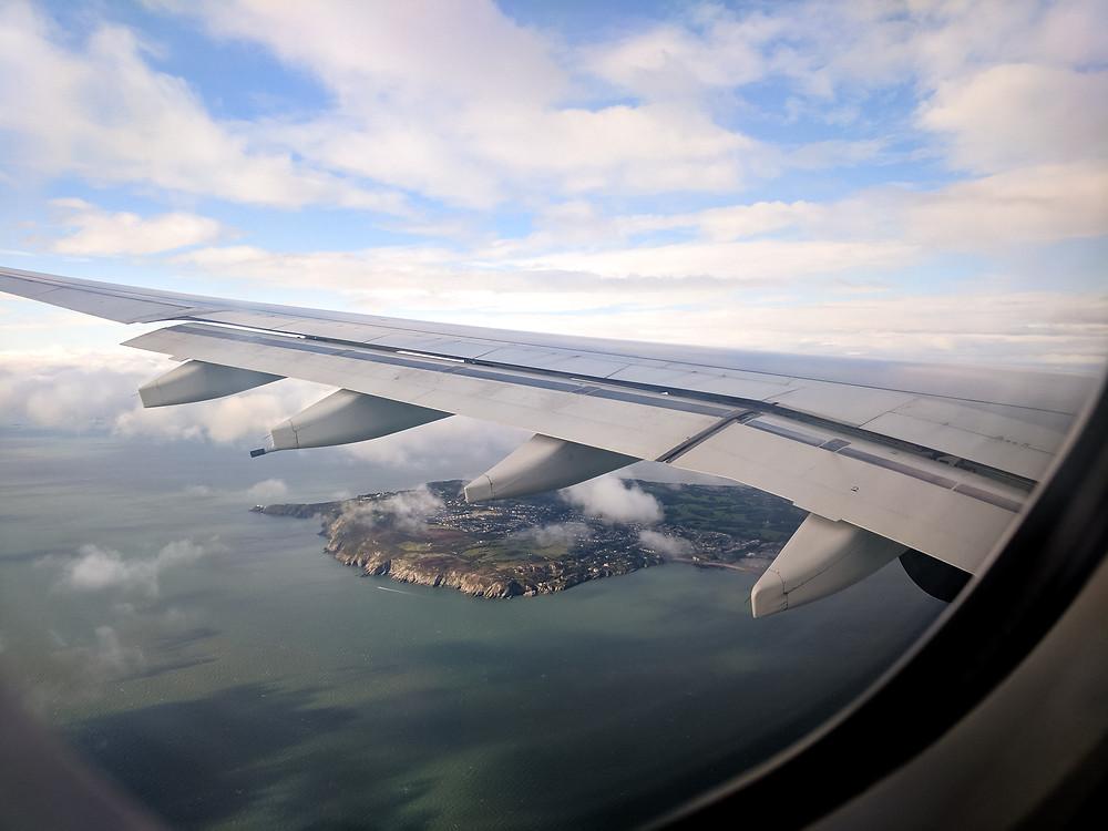 the coastline as we fly into Dublin, Ireland