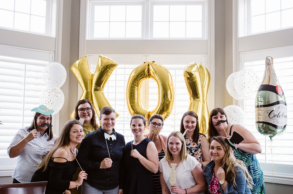 wedding shower, party people, bridal party, gay shower, props, photobooth, champagne, balloons, celebrate
