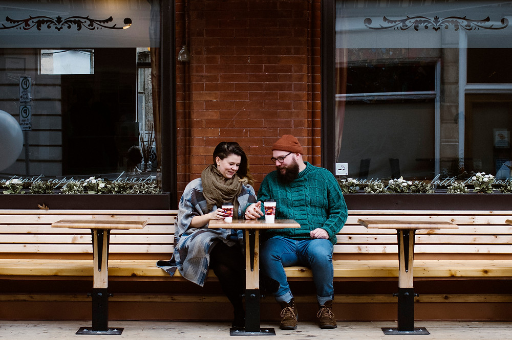 red brick cafe downtown guelph engagement session