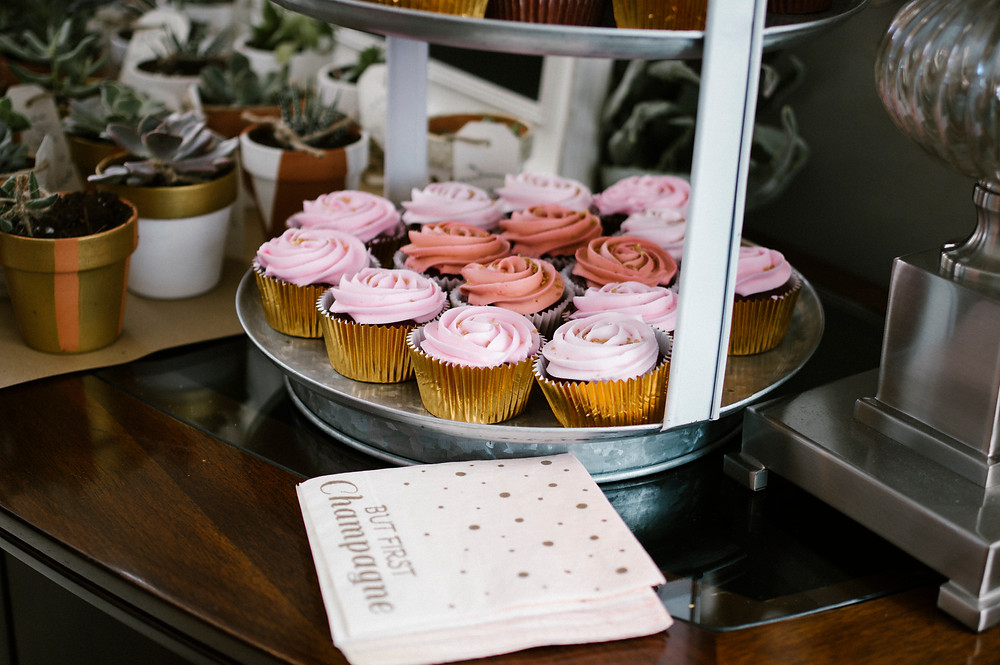 pink cupcakes, gold foil, wedding shower cupcakes, but first champagne