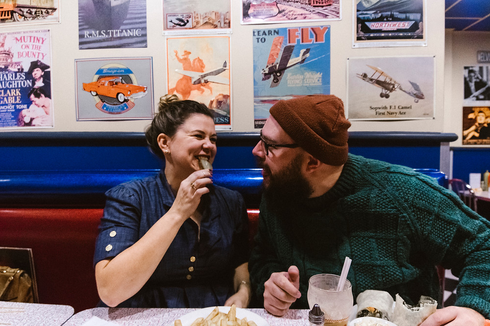 lifestyle diner engagement photos