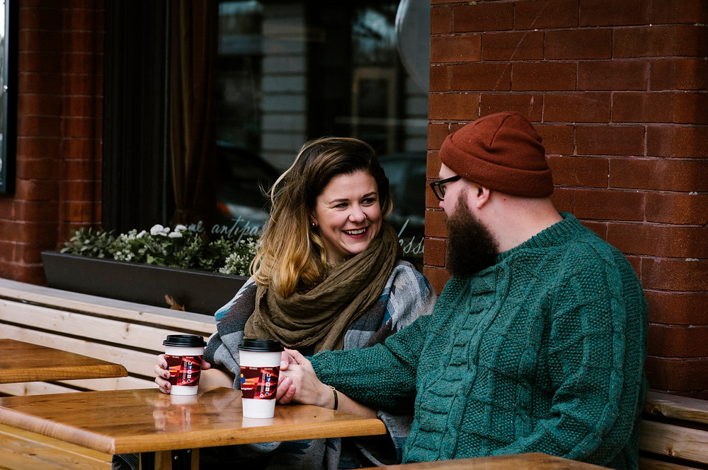 coffee date engagement photos