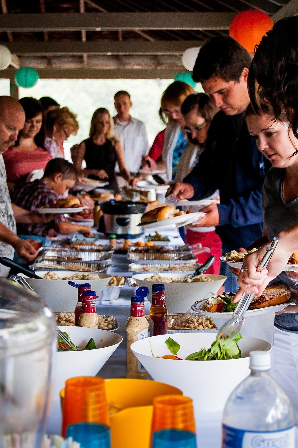 family picnic style wedding reception