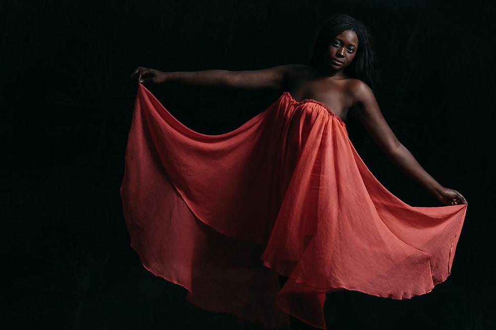 dramatic red dress portraits