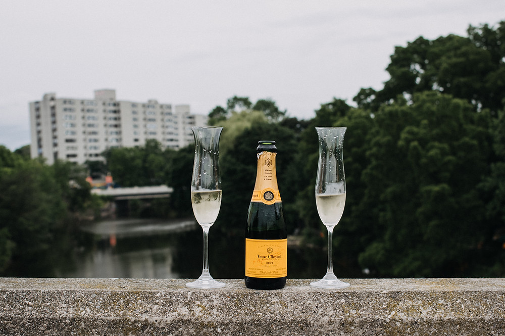 champagne and flutes on the bridge