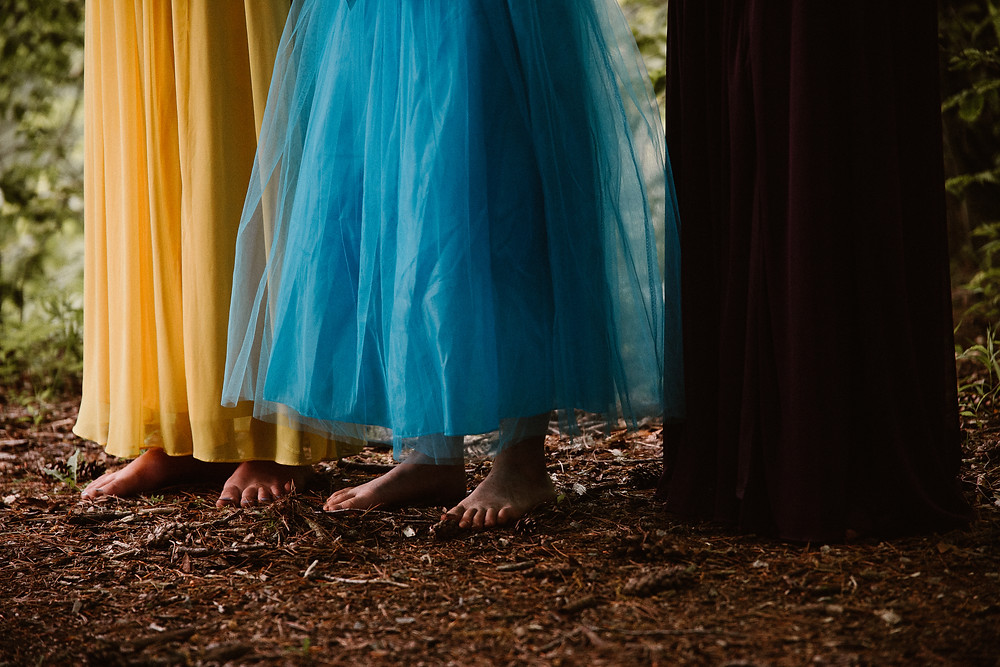 barefoot bridesmaids in the woods