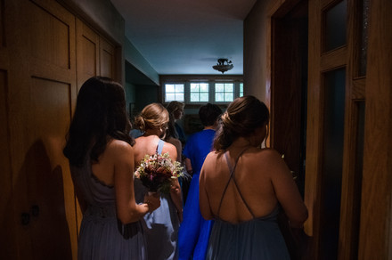 bridesmaids waiting for the processional