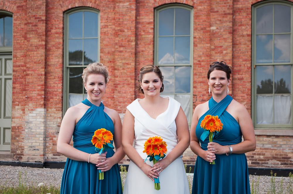 orange gerber daisy wedding bouquet