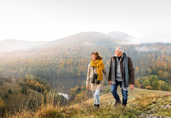 Senior Couple Hiking Stock Image Cropped