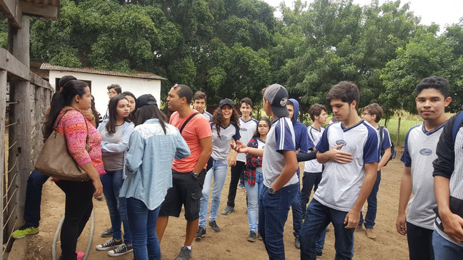 A aula prática com os alunos do 1º Ano