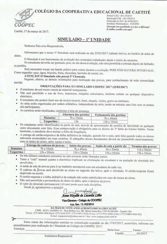 Orientações para o I Simulado COOPEC 2017 (25/03/2017)
