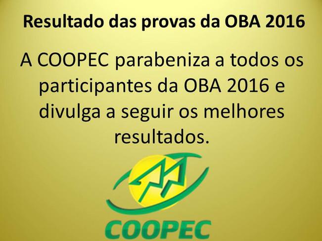 Resultado das provas da OBA 2016.
