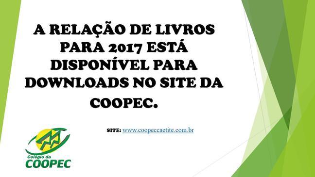 RELAÇÃO DE LIVROS PARA 2017