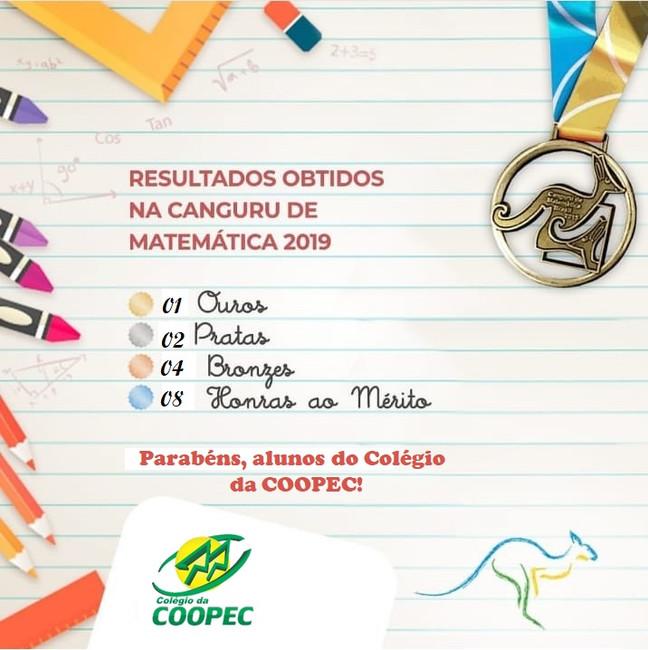 Em 2019, o Colégio da COOPEC participou novamente da maior competição internacional de Canguru de Ma