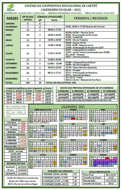Calendário Escolar - 2021