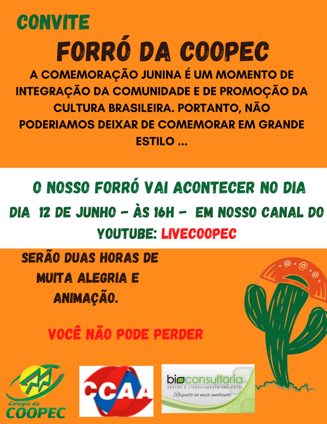 Convite para o FORRÓ DA COOPEC!
