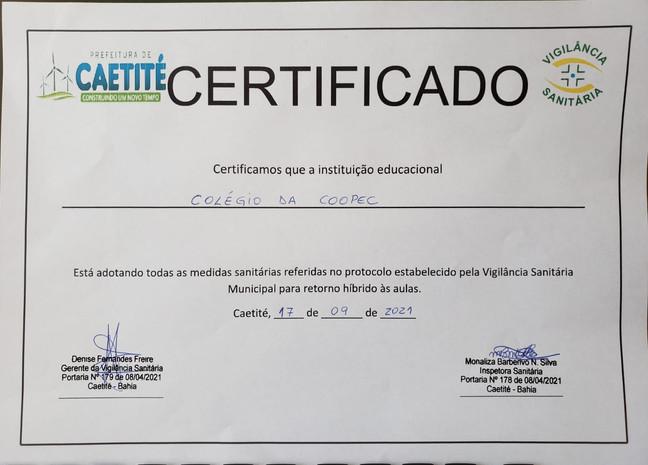 Certificado da Vigilância Sanitária.
