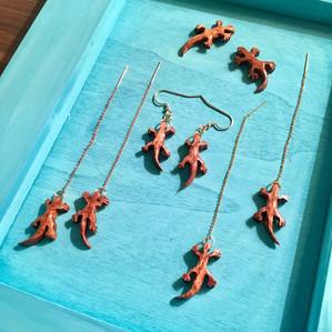 Curly Koa-Mo'o'alā(Gekko) Earrings