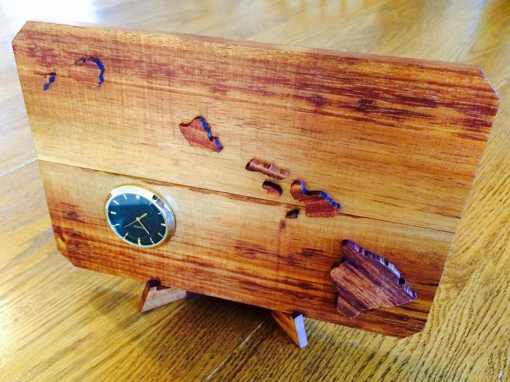 Koa Hawaiʻian Islands clock (finish-Beeswax & Orange oil)
