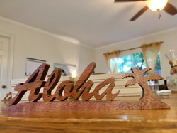Hana lima Gothic Aloha Koa Plaque