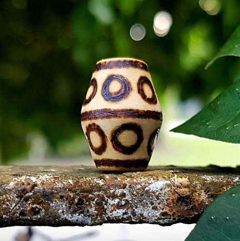 circles & lines・wood-burned bicone loc bead