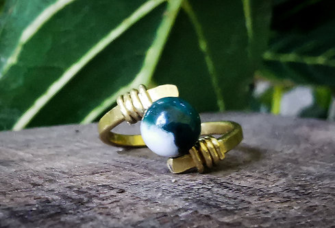 indian agate x brass ring - size 4.5