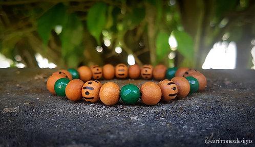 jade・wood-burned bracelet