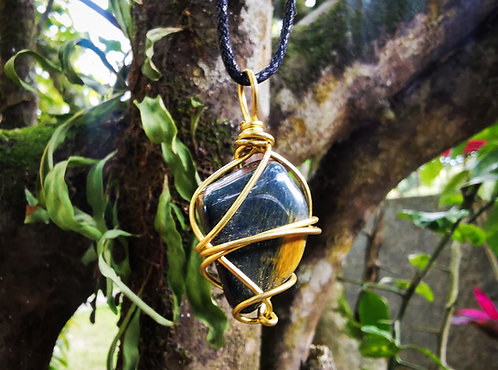blue tiger eye x brass • adjustable necklace
