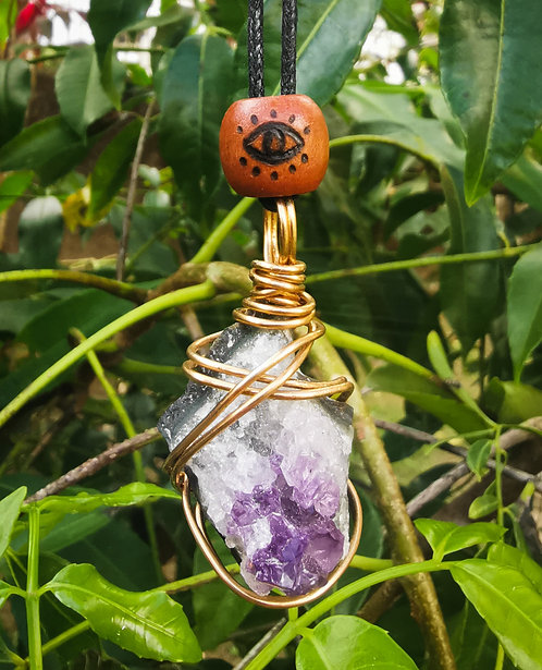 amethyst cluster + eye・adjustable necklace