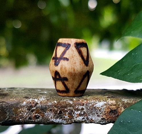elements・wood-burned bicone loc bead