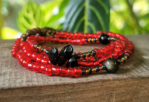 "onyx & gold-sheen obsidian w. red & wood・33.5"" waistbeads"