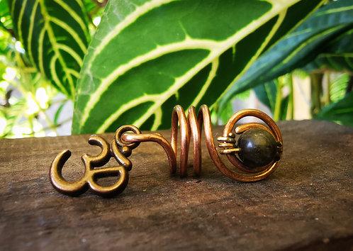 gold-sheen obsidian + om • loc bead