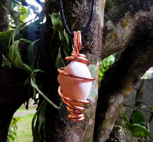 peach moonstone x copper • adjustable necklace