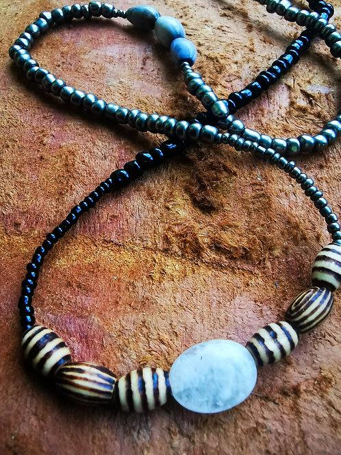 "moonstone+ wood burnt beads • 30"" waist beads"